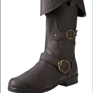 Men's Distressed Black Pirate Boots